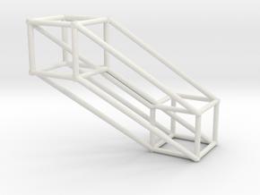 Large 4D Hypercube in White Natural Versatile Plastic
