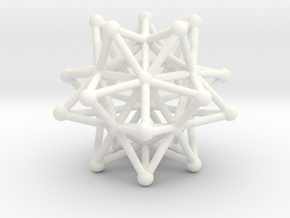 Stellated Icosahedron - 20 Pointed Merkaba in White Processed Versatile Plastic
