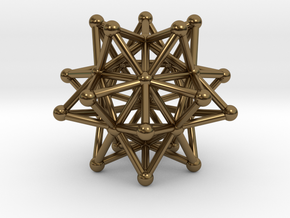 Stellated Icosahedron - 20 Pointed Merkaba in Polished Bronze