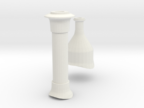 7mm scale Millwall Tank Safety Valve and Chimney in White Natural Versatile Plastic