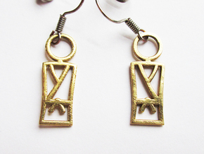 Martial Arts Earrings in Natural Brass