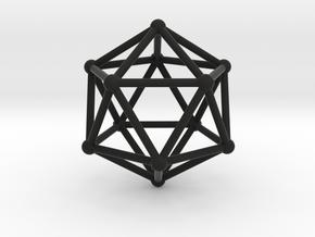 Icosahedron in Black Natural Versatile Plastic