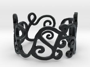 Love Ring Design Ring Size 6.75 in Black Hi-Def Acrylate