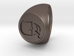 Custom Signet Ring 46 in Polished Bronzed Silver Steel