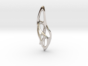 Voronoi Pendant top  in Rhodium Plated Brass