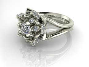 Flower ring NO STONES SUPPLIED in Premium Silver