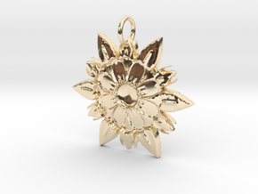 Elegant Chic Flower Pendant Charm in 14k Gold Plated Brass