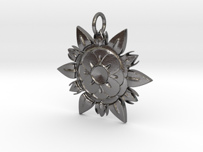 Elegant Chic Flower Pendant Charm in Polished Nickel Steel