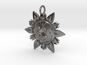 Elegant Chic Flower Pendant Charm in Polished Nickel Steel
