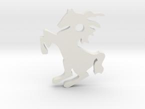 Horse Pendant in White Natural Versatile Plastic