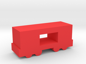 Game Piece, Freight Train Box Car, Open in Red Strong & Flexible Polished