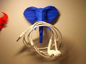 African Elephant Head in Blue Processed Versatile Plastic: Extra Small