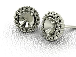 Halo Stud Earrings NO STONES SUPPLIED in 14k White Gold