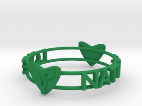 Love Nature Vegan Bracelet in Green Processed Versatile Plastic: Medium