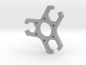 Skeletonized tri claw fidget spinner in Metallic Plastic