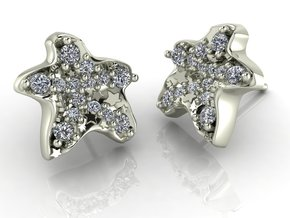 Starfish Earrings NO STONES SUPPLIED in Fine Detail Polished Silver
