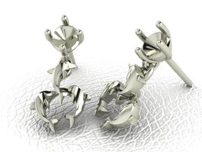 Dolphin drop Earrings NO STONES SUPPLIED in 14k White Gold
