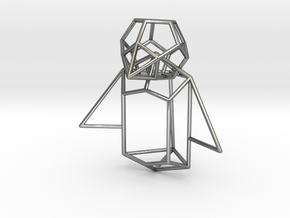 Wireframe Penguin in Polished Silver (Interlocking Parts)