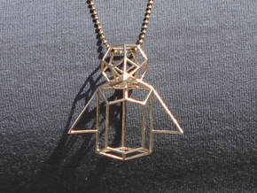 Wireframe Penguin in Natural Bronze (Interlocking Parts)