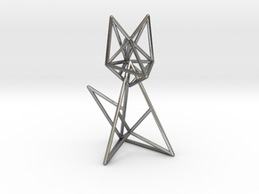 Wireframe fox in Interlocking Polished Silver