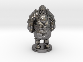 Tabletop Game Resting Dwarf Warrior 28mm in Polished Nickel Steel