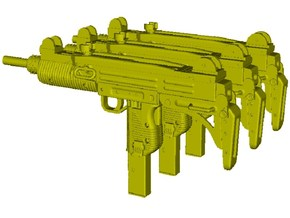 1/24 scale IMI Uzi submachineguns x 3 in Smooth Fine Detail Plastic