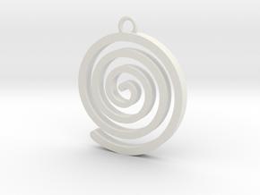 Spiral Pendant in White Natural Versatile Plastic