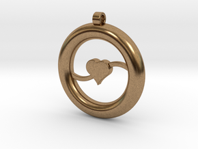 Ring Pendant - Heart in Natural Brass