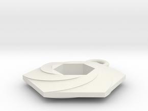Vintage Hexagon Keychain in White Natural Versatile Plastic