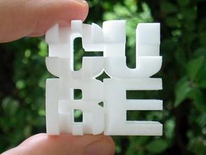 """Cube"" Cube in White Natural Versatile Plastic"