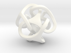 Interlocking Ball based on Tetrahedron in White Strong & Flexible Polished