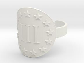 AP III% 3 Percenter Ring Size 10 in White Natural Versatile Plastic