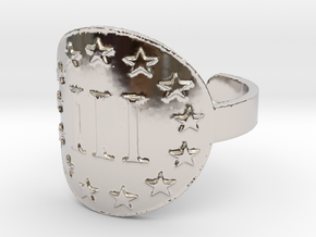 AP III% 3 Percenter Ring Size 7 in Rhodium Plated Brass