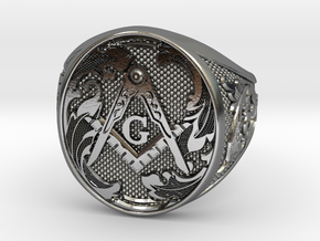 Masonic Geometry Signet Ring in Polished Silver