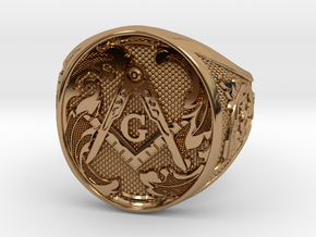 Masonic Geometry Signet Ring in Polished Brass