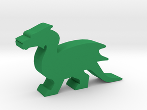Game Piece, Dragon, Wings Folded in Green Processed Versatile Plastic