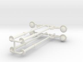 4pcs: N/OO Scale Lamp in White Natural Versatile Plastic: 1:76 - OO