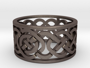 Celtic Knot Ring in Polished Bronzed Silver Steel