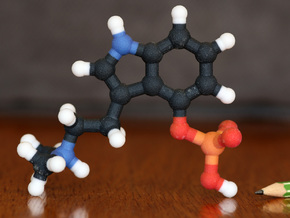 Psilocybin Molecule Model, 3 Size Options in Full Color Sandstone: 1:10