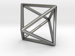 Octahedron Pendant in Polished Silver