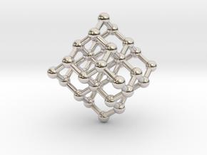 Diamond Molecule Necklace in Rhodium Plated Brass