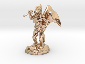 Winged Kobold with Dagger And Rock in 14k Rose Gold Plated Brass