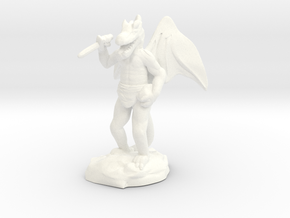 Winged Kobold with Dagger And Rock in White Strong & Flexible Polished