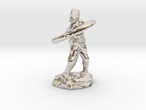 Kobold Archer With Shortbow Shooting High in Rhodium Plated Brass