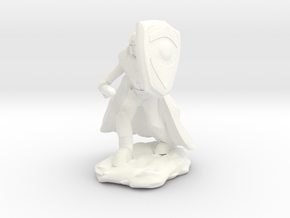 Human Paladin in Plate with Sword and Shield in White Strong & Flexible Polished