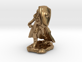 Human Paladin in Plate with Sword and Shield in Natural Brass