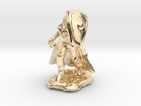 Human Paladin in Plate with Sword and Shield in 14k Gold Plated Brass