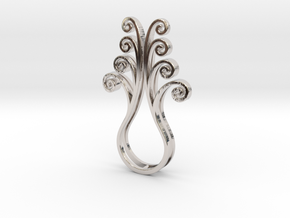 Octopus Meanders - Pendant in Rhodium Plated Brass