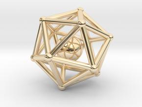 Icosahedron jingle bell pendant in 14K Yellow Gold