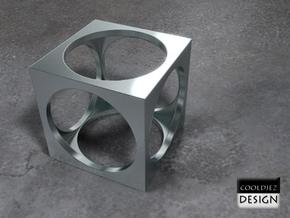 Ring - Cube in Polished Bronzed Silver Steel